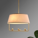 Farmhouse Tapered Suspension Light 3 Lights Fabric Chandelier in Beige with Bottom Stand and Bird Decor