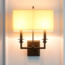 Rectangle Pleated Fabric Wall Lamp Traditional 1/2-Bulb Living Room Sconce Light in White