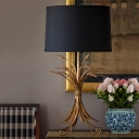 Antiqued Brass Wheat Bunch Table Lamp Farm Fabric Single Family Room Nightstand Light with Black Drum Lampshade