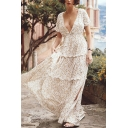 Fancy Stylish Womens White Short Sleeve Deep V-Neck Ditsy Floral Printed Stringy Selvedge Slit Side Long Pleated A-Line Bohemian Dress