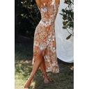 Ethnic Boho Pretty Womens Short Sleeve Surplice Neck Allover Flower Print Long Wrap Dress in Orange