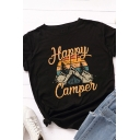 Trendy Girls Rolled Short Sleeve Crew Neck Letter HAPPY CAMPER Cartoon Mountain Graphic Fitted T Shirt