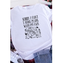 Womens Stylish Roll Up Sleeve Crew Neck Letter SORRY I CAN'T Cartoon Pattern Relaxed Graphic Tee