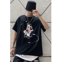 Fashion Letter Something to Sing About VE2 Ghost Graphic Short Sleeve Crew Neck Loose Fit Tee Top in Black