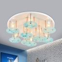 Round Flush Mount Lighting Kids Style Metal 9 Lights White Finish Flush Lamp with Panel Blue Glass Shade