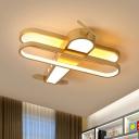 Acrylic Airplane Ceiling Flush Cartoon LED Flush Mount Light Fixture in Gold, White/Warm Light