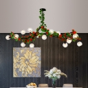 Red/Pink Flower Wrapped Semi Flush Light Rural Iron 15 Bulbs Dining Room Ceiling Mount Chandelier with Dome Glass Shade