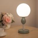 Macaron Ball Nightstand Lamp Cream Glass 1 Bulb Children Bedside Table Light in Grey/Pink/Yellow