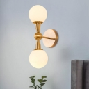 Ball Shade Wall Sconce Simplicity White Glass 1/2-Light Parlor Wall Mounted Lamp in Brass