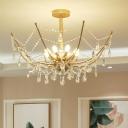 Spider Web Shape Crystal Swag Semi Flush Traditional 6/8 Bulbs Living Room Flushmount Light in Gold