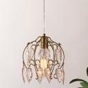 Ice Crystal Brass Pendant Lamp Kit Vintage Triangle 1-Light Traditional Pendulum Lamp