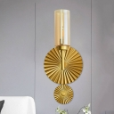 Lotus Leaf Wall Lamp Mid Century Clear/Smoke/Amber Glass 1 Bulb Bedside Wall Lighting Ideas in Brass
