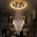 Layered Tapered Lobby Ceiling Light Contemporary Crystal 4-Head Chrome Flushmount Lighting