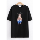 Casual Womens Letter Little Bear Cartoon Bear Graphic Short Sleeve Round Neck Loose Fit T-Shirt