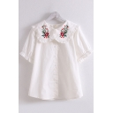 Girls Ethnic Floral Embroidered Stringy Selvedge Peter Pan Collar Short Sleeve Button down Loose Shirt in White