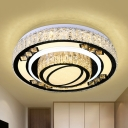 Minimalist Circular Flush Light Fixture LED Faceted Crystal Ceiling Lamp in Chrome