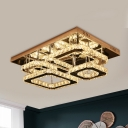 Multi Square Crystal Ceiling Lamp Contemporary LED Bedroom Flush Light Fixture in Chrome