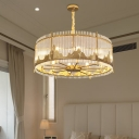 Traditionalism Circular Chandelier 8 Bulbs Crystal Rod Hanging Lamp in Gold with Mountain Edge Design