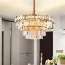 Vintage Tiered Pendant Chandelier 8 Lights Crystal Rectangle Ceiling Light in Gold