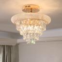 Retro 4 Tiers Semi Flush Mount 9 Lights Hand-Cut Crystal Flush Ceiling Light Fixture in Gold