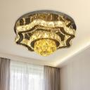 Modernism Rectangle/Round Flush Light LED Clear K9 Crystal Flush Mount Lighting Fixture in Chrome