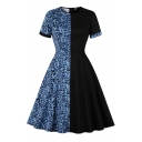 Black Retro Leopard Printed Panel Short Sleeve Crew Neck Midi Pleated Swing Dress for Girls