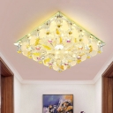 Simple Square Flush Light Clear Crystal LED Ceiling Flush Mount with Fish Design for Balcony