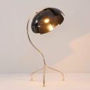 Metal Panel Domed Night Table Light Modernist 1 Light Desk Lamp in Black with Tripod Base