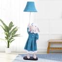 Fabric Sheep Lady Floor Lighting Cartoon 1 Light Blue Floor Stand Lamp with Bell Shade