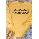 Popular Womens Long Sleeve Crew Neck Letter BEE HUMBLE BEE KIND Bee Print Relaxed Fit Pullover Graphic Sweatshirt in Yellow