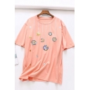 Fancy Cute Girls Short Sleeve Round Neck Planet Moon Star Embroidery Loose T Shirt