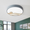 Modern Circle Shaped Flush Light Acrylic Living Room LED Flush Mount Ceiling Lamp with Wood Deco in Grey/White, 16