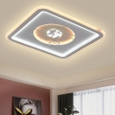 Square LED Ceiling Light Fixture Modernist Acrylic White LED Flush Mount with Character Pattern for Living Room
