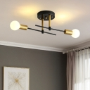 Linear Bedroom Semi Flushmount Iron 2 Bulbs Simple Flush Mount Ceiling Light Fixture in Black