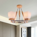 Trapezoid Bedroom Chandelier White Frosted Glass 4 Heads Modernism Ceiling Pendant Light in Chrome and Wood