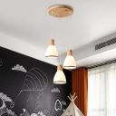 3 Heads Dining Room Multi Light Pendant Japanese Wood Ceiling Hang Fixture with Bell White Glass Shade