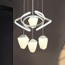White Geometric LED Ceiling Pendant Modernist 4 Bulbs Acrylic Cluster Hanging Light with Twisting Deco for Dining Room