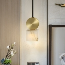 Marble Square/Cylinder Pendant Light Fixture Nordic 1 Head Gold Hanging Ceiling Lamp for Bedside