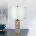 Cylinder Night Table Light Modern Marble 1 Head Agate Red Night Lamp with Drum White Fabric Shade