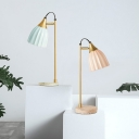 Ceramics Dome Table Light Modernism 1 Head Night Lamp in Pink/Sky Blue with Gold Arm and Round Marble Base