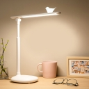 Linear Rotatable Reading Book Light Modern Metallic LED White Desk Lamp with Bird Deco