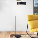 Iron Drum Reading Floor Lamp Macaron 1-Head Black/Blue/Yellow Finish Floor Stand Light for Living Room
