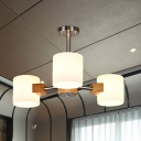 Cylinder White Frosted Glass Semi Flushmount Modernist 2/3 Bulbs Wood and Chrome Flush Ceiling Lighting