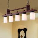 Cylinder Opal Glass Island Light Fixture Vintage 5-Head Dining Room Pendant Lamp in Brown with Wood Linear Design