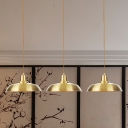 3/5/7-Bulb Tandem Multi Light Pendant Industrial Restaurant Hanging Lamp with Barn Metal Shade in Gold