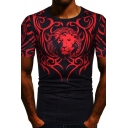 Cool Mens Short Sleeve Round Neck Lion Floral Pattern Slim Fitted T-Shirt
