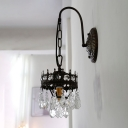 Crown Shape Living Room Sconce Lighting Metal 1 Bulb Traditional Wall Mount Lamp Fixture in Black/Brass with Crystal Drop