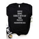 Casual Womens Rolled Short Sleeve Crew Neck Letter COFFEE BOOKS CUDDLES WITH CAT Print Regular Fit Tee Top