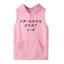 Casual Girls Sleeveless Letter FRIENDS DONT LIE Print Pouch Pocket Regular Fit Hoodie
