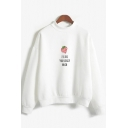 Popular Womens Long Sleeve Mock Neck Letter I LIKE YOUR BERRY MUCH Strawberry Graphic Loose Pullover Sweatshirt